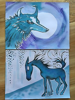 FREE POST Wolf And Horse Bulk Lot Of 2 A4 Paintings Sienna Mayfair Originals