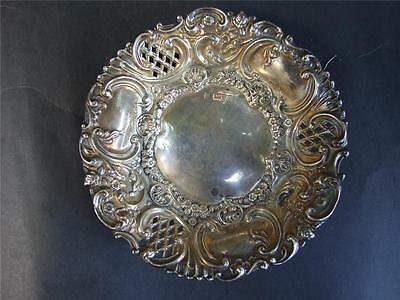 Antique Embossed Sterling Silver 925  Pierced  Pin Dish Chester C.1902