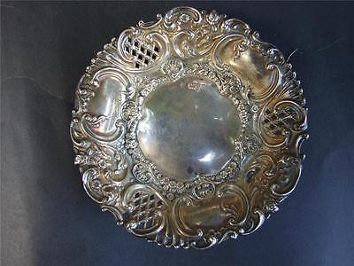Antique Embossed Sterling Silver Pierced  Pin Dish Chester C.1902