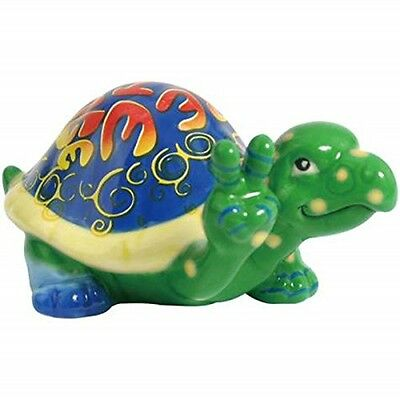 "WL SS-WL-23005 Multicolor ""Bee The Change"" Turtle with Peace Sign Figurine,"