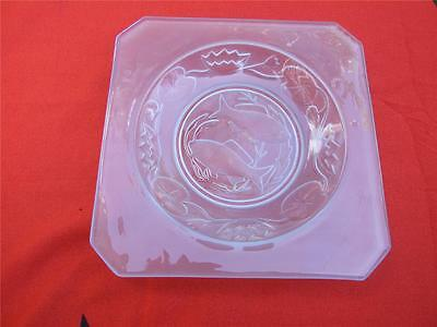 Antique  Art  Deco  Depression Blue Frosted Glass Fish Plate  C1930's
