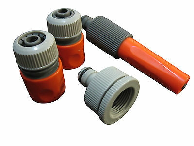 """New Garden Hose Irrigation Fitting Adaptor Set  1/2"""" Snap In Nozzle Mender Tap"""
