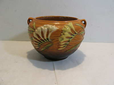 Vintage ROSEVILLE Art Pottery FREESIA Planter JARDINIERE Brown 669-4