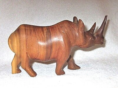 Hand Carved Teak Wood Rhino Rhinoceros Sculpture Wildlife Statue African Art