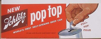 24 inch 1962  Dated  Schlitz Orig. Lithograph Sign Adv. First Zip Top Beer Cans