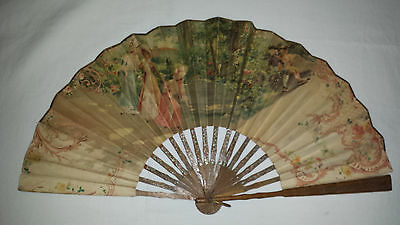 Vintage Folding Paper Double Sided Fan - image Ladies gathering in the Country