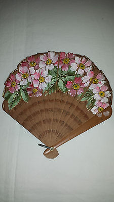 Vintage Folding Handheld Oriental Fan Painted with apple blossom flowers 1920/30