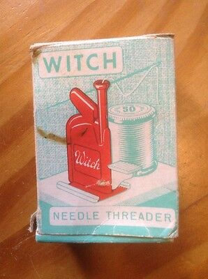 """Vintage Needle Threader New In Box! """" The Witch!"""" From Western Germany Marked"""