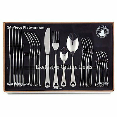 Disney Mickey Mouse Flatware 24 Piece Set Silverware Stainless In Stock!