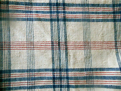 Antique French Rustic Farmhouse Cotton Loomed Homespun Plaid Fabric ~ Red Blue