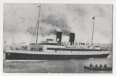 WWl STEAMSHIP POSTCARD. MESSAGE ABOUT MINE IN CHANNEL. INGHAM, MORLEY FAMILY.