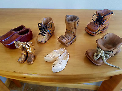 Boots Shoes Hand Carved (7) Miniatures Whimsical Professional Signed Folk Art
