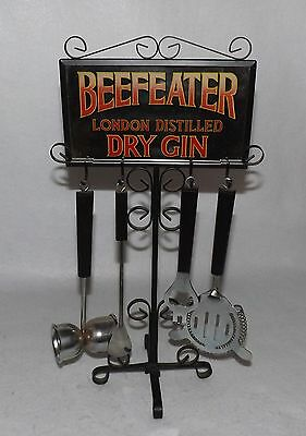 Vintage Beefeater Gin Bar Utensil Cocktail Set Advertising Mirror Stand Holder
