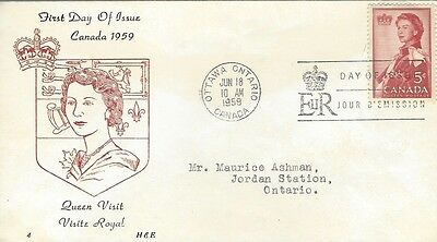 1964 #433 Royal Visit FDC with H & E cachet