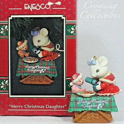 Enesco Mice Merry Christmas Daughter Treasury of Christmas Ornament Tea Party