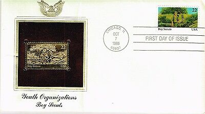 1985 US Boy Scouts 22 kt Gold replica stamp and FDC
