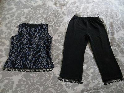 Black White Blue Girls Bollywood Stretch Floral Beaded Pants Top Dress Set 8
