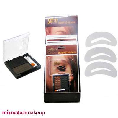 Saffron Eyebrow Kit with Stencils, Brown Black Shapers Brow Powder Make Up Brush