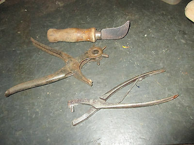 --3 ---Leather  Working  Tools  Knife ,  No  10   &  Revolving  Leather  Punch