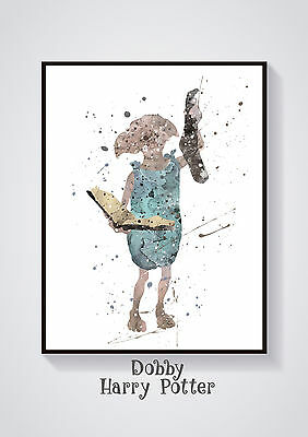 Dobby -Harry Potter  Watercolour Wall Prints - Sizes  10x8, A4, A3 Lots of Styes