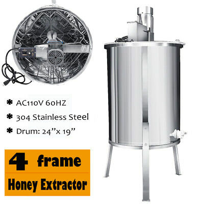 Pro Electric Stainless Steel Honey Extractor Beekeeping Equipment Drum 4 Frame