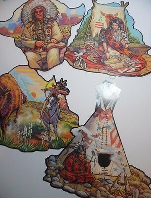 4 VTG Native American Cardboard Dye Cuts Cutouts Classroom Home Wall Decorations