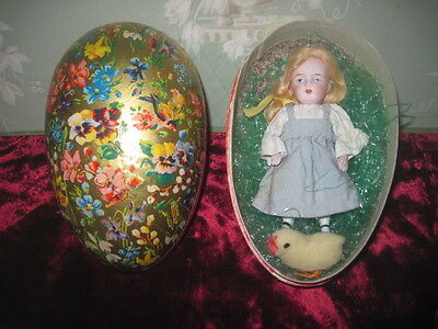 "Sweet 4 1/2"" Antique All Bisque Kestner Doll In Antique Lithograph Easter Egg!"