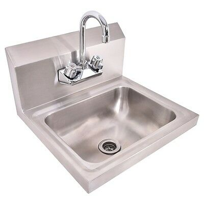 Commercial Stainless Steel Hand Wash Washing Wall Mount Sink Kitchen NEW