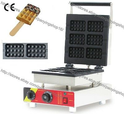 Commercial Nonstick Electric 6pcs Belgian Waffle Stick Machine Baker Maker Iron