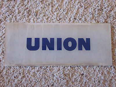 "Vtg Reverse Painted BLUE Union 76 Gas Pump Frosted Glass Sign 12"" Wide 5"" Tall"
