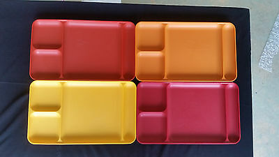 4 Tupperware Divided Lunch Trays #1535 Kids Harvest Colors Lunch tv cafeteria