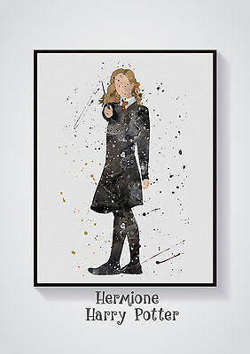 Hermione- Harry Potter Watercolour Wall Prints -Sizes 10x8, A4, A3 Lots of Styes