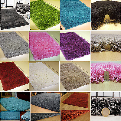 XLARGE SMALL SIZE MODERN THICK PLAIN SOFT SHAGGY RUG NON SHED 5cm PILE RUGS NEW