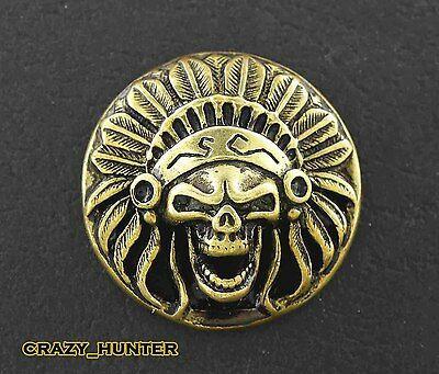Screw eye Skull American Indian Head Metal Brass Concho Button For Leather Craft