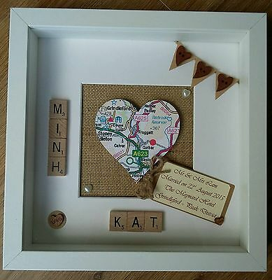 Personalised Heart Map Wedding  Scrabble Tile Frame Engagement  Location  Gift