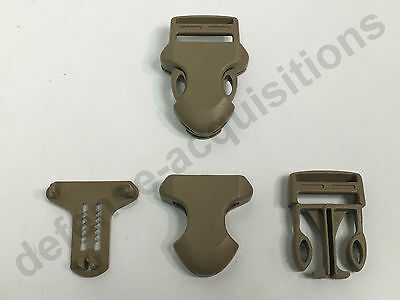 """1"""" ITW Side Release Surface Mount Surmount Military Pouch Replacement Buckle TAN"""