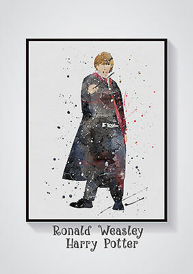 Ronald- Harry Potter Watercolour Wall Prints -Sizes 10x8, A4, A3 Lots of Styes