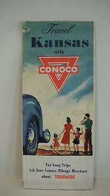 Vintage 1950 CONOCO ROAD MAP - KANSAS - Great Graphics - Gas Oil Ad State Travel