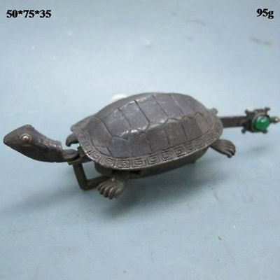 Rare Chinese Old Style Brass Carved Turtle Shape Lock and Key NR
