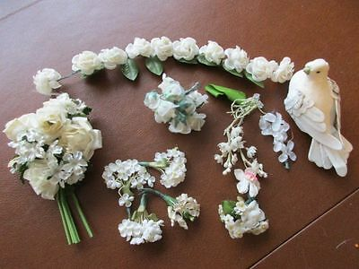 Lot of Vintage White Millinery Flowers Bird