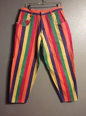 Vintage 90s Color-block Denim Hip-Hop Striped Baggy Long High-Waist Mom Jeans