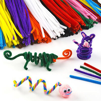 100pcs Chenille Craft Stems Pipe Cleaners 30cm Lots of Colours For Kids