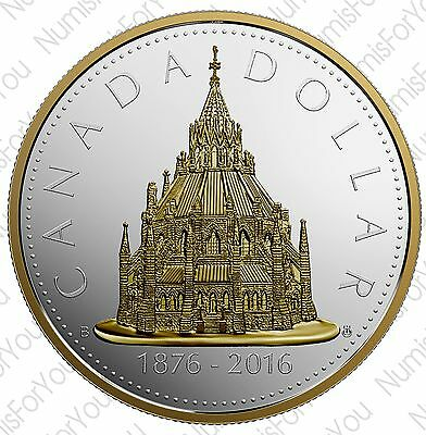 2016 2 oz Renewed Library of Parliament Pure Silver Dollar Coin w/ Gold–RCM