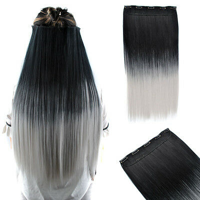 26'' Long Dyed BlackTgray Ombre Hair Straight One Piece Clip In Hair Extensions