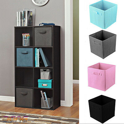 4x Foldable Square Canvas Storage Collapsible Folding Box Fabric Cubes Kids Toys