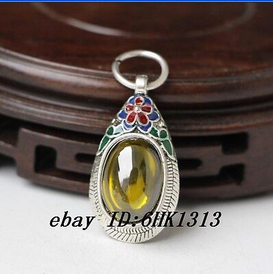 CHINA SILVER OLD INLAY ZIRCON WONDERFUL CLOISONNE HAND CARVED Pendant