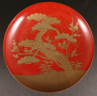 Antique Japanese LACQUER PINE TREE LARGE sake cup
