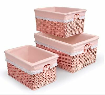 Storage Baskets For Shelves With Liners Baby Nursery Pink Girl Bins Set of 3 New