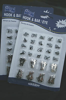 20 mm HOOKS & BARS 8 PAIR & 20 BLACK PAIRS HOOKS & EYES FASTENERS TROUSERS SKIRT
