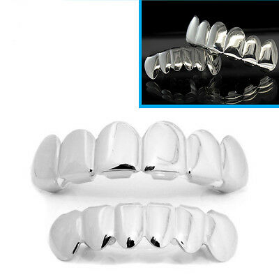 Silver Grillz Plated Teeth Mouth Grills Top Bottom Bling Hip Hop Gangster Rap
